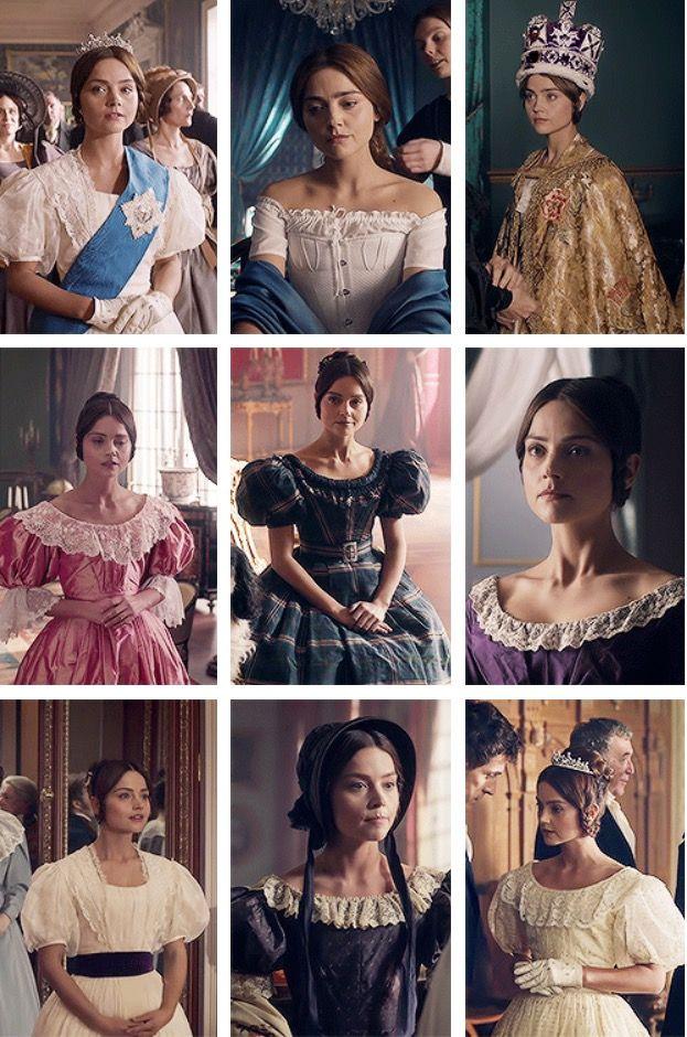 "Victoria's costumes in ""Ladies in Waiting."""