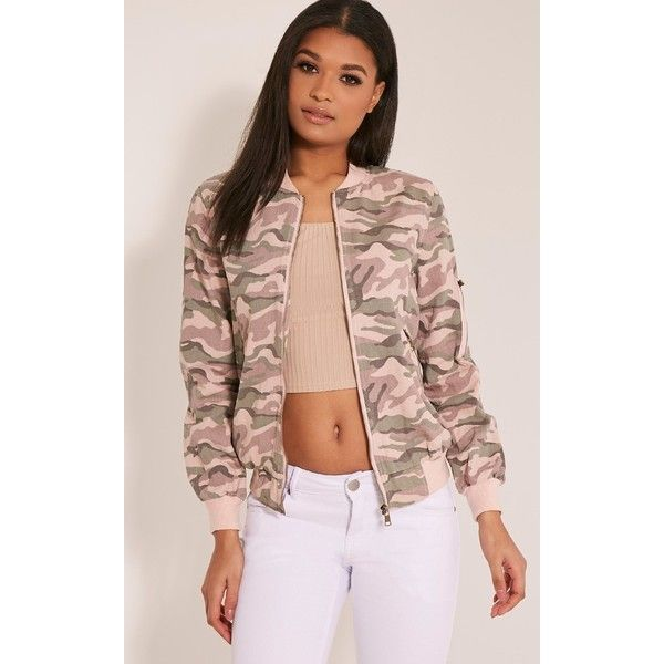 Ovia Pink Camouflage Bomber Jacket-M/L (£35) ❤ liked on Polyvore featuring outerwear, jackets, pink, flight jacket, camo jacket, cotton jacket, camouflage bomber jacket and pink camouflage jacket