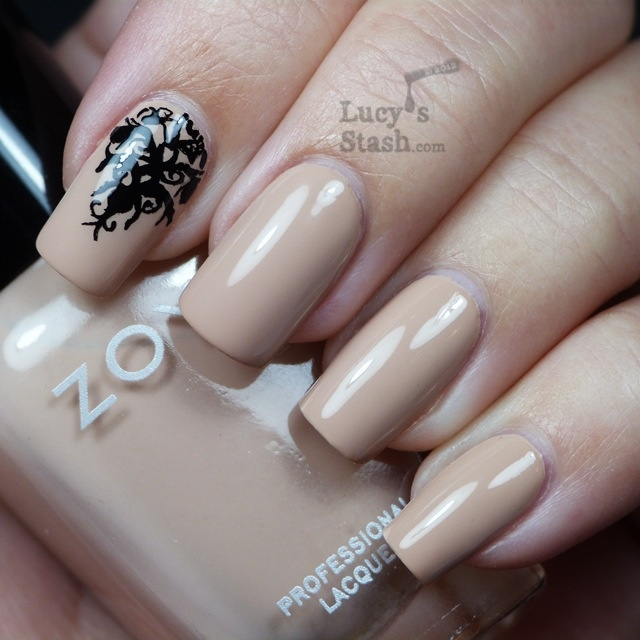 Nude nails with black  design