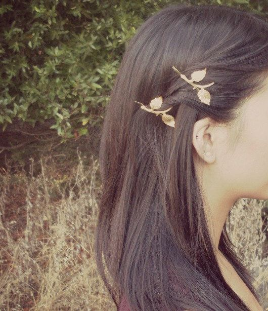 Gold Leaf Branch Bobby Pins - Nature Inspired - Rustic Wedding Hair Accessories Woodland Hair Accessories Elegant Romantic Whimsical Dreamy. $38.00, via Etsy.