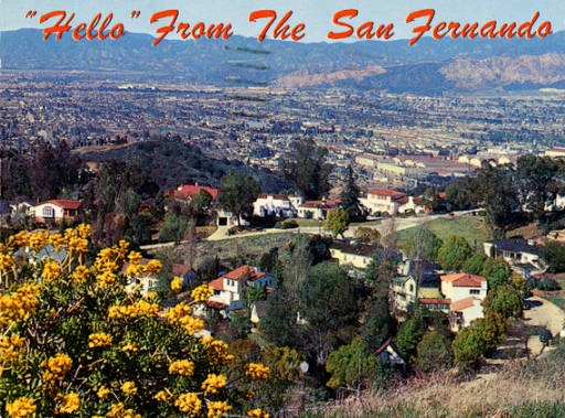 "my beautiful purple valley!!! :) ""Hello"" from the San Fernando Valley postcard, circa late 1950s :: San Fernando Valley History"