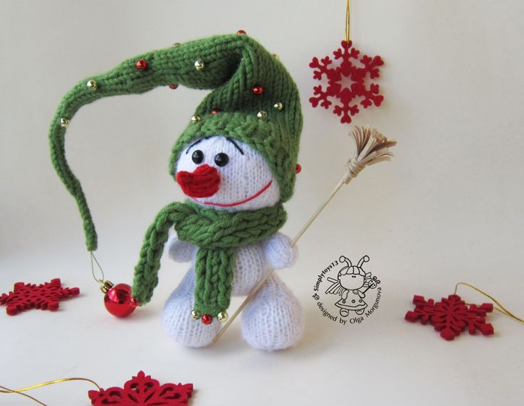 """Купить Мастер-класс """"Снеговичок"""" - вязание спицами, вязаная игрушка, авторская игрушка, зайчик игрушка"""