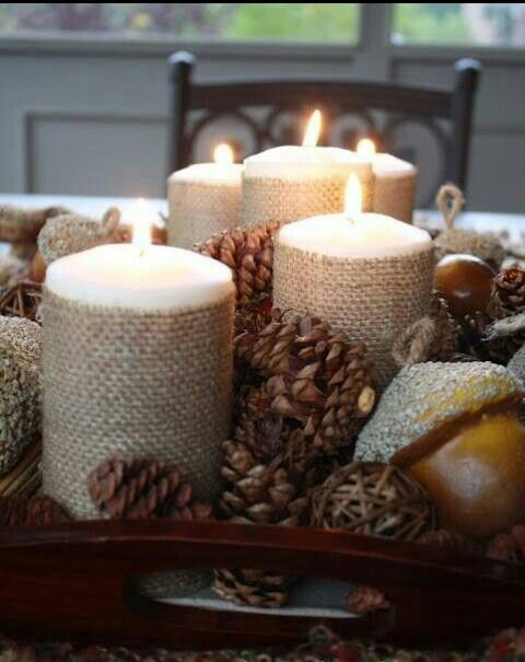 Beautiful fall decorative idea. Love this idea! Burlap around candles, I never thought of that!