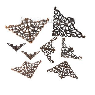 """Wholesale - Iron Based Alloy Filigree Stamping Embellishments Findings Triangle Silver Tone Flower Vine Carved Hollow 75mm x48mm(3"""" x1 7/8"""") - 22mm x22mm( 7/8"""" x 7/8""""), 60 PCs - #8seasons - #Deals - #Discount"""