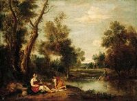 A wooded river landscape with figures resting on a bank by Francesco Zuccarelli