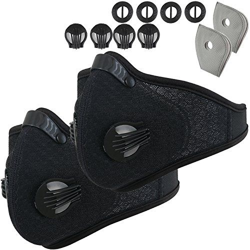 Activated Carbon Dustproof Dust Mask - with Extra Filter Cotton Sheet and Valves for Exhaust Gas, Anti Pollen Allergy, PM2.5, Running, Cycling, Outdoor Activities (Black+Black, Type 1) #Activated #Carbon #Dustproof #Dust #Mask #with #Extra #Filter #Cotton #Sheet #Valves #Exhaust #Gas, #Anti #Pollen #Allergy, #PM., #Running, #Cycling, #Outdoor #Activities #(Black+Black, #Type