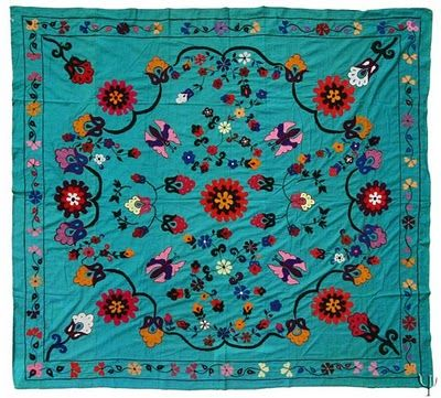 A suzani is a hand-stitched/embroidered textile made in Tajikistan, Afghanistan, Uzbekistan, Kazakhstan and other Central Asian countries - its name derives from the Persian word Suzan, which means needle.