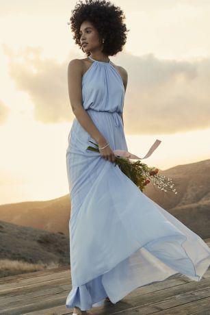 1c9ac30d66 Soft Mesh Halter Bridesmaid Dress with Slim Sash
