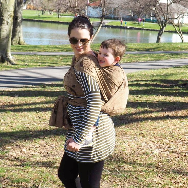 The Wrapsody Breeze is surprisingly supportive! Carrying my 34 lb, almost 3 year old, on a walk in the park. ~Mary Bartran, #wanderingwrapsody #wrapsodyfamily
