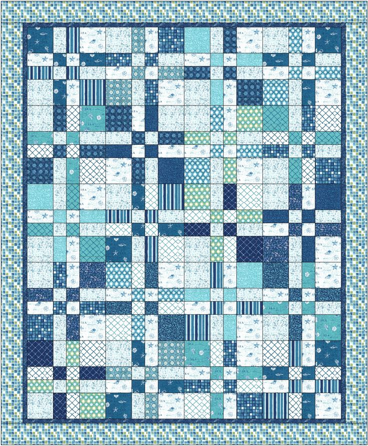 Landlocked Sea Lover's Quilt- Disappearing 4-patch with Layer Cakes