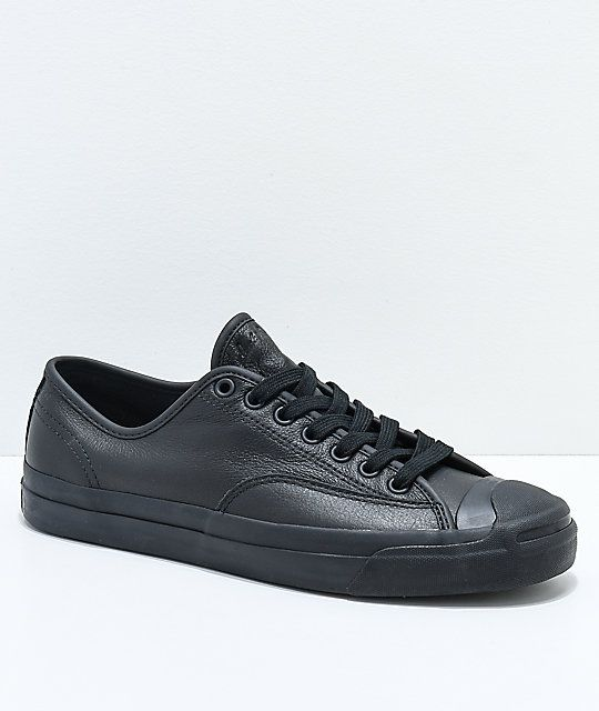 7044b8aabfe4 Converse x GX1000 Jack Purcell Pro All Black Leather Skate Shoes in ...