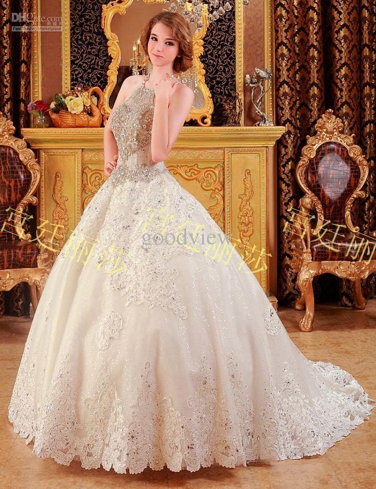 Wholesale Luxury Sparkle Halter Bridal Wedding Dress Rhinestone Crystal Handmade Beading Backless Cathedral Wedding Dress Pageant Evening Dress, Free shipping, $427.27/Piece | DHgate