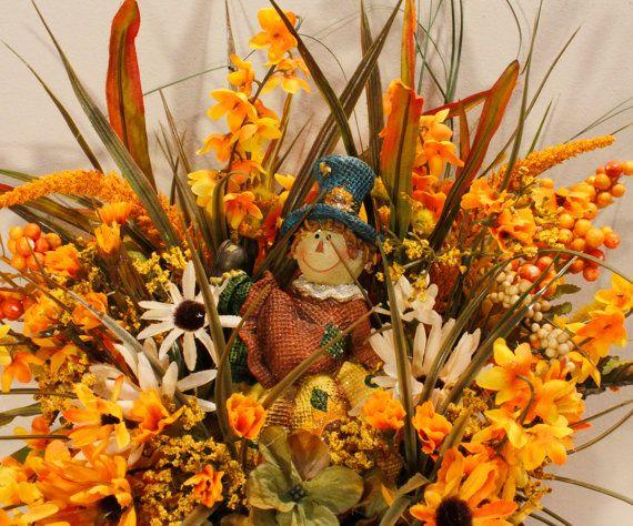 Fall Scarecrow Pumpkin Orange Sunflower Floral by PamsDeZines