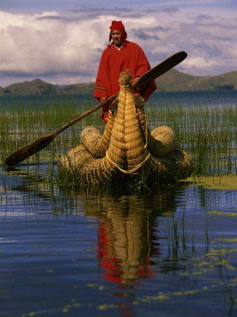 Traditiona Totora Reed Boat  Aymara, Lake Titicaca, Bolivia / Peru, South America