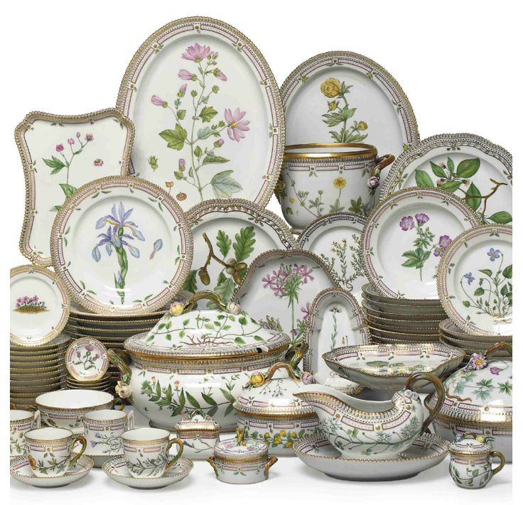 Royal Copenhagen Flora Danica porcelain set, originally created by one of the greatest porcelain painters Johann Christoph Bayer in 1790, was commissioned by King Christian VII to the Royal Copenhagen Porcelain Manufactory as a gift to Tsarina Catharine II of Russia. Catherine the Great died in 1796, before the design of the 1,802 pieces, which took a total of 12 years to bring to whole, was completed.
