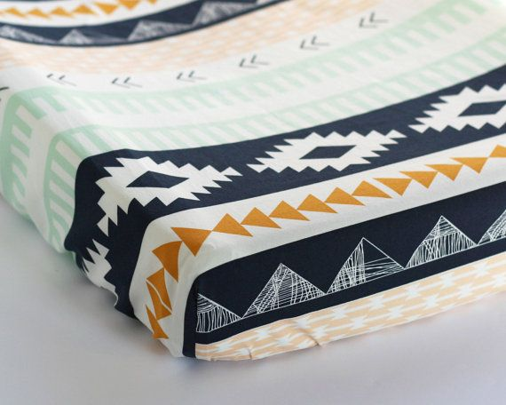 Arizona Aztec Fitted Crib Sheet Changing Pad Cover by DelvaBTree