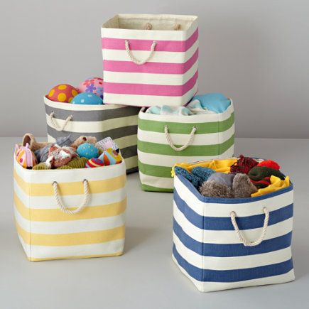 striped floor bins great for a kids room