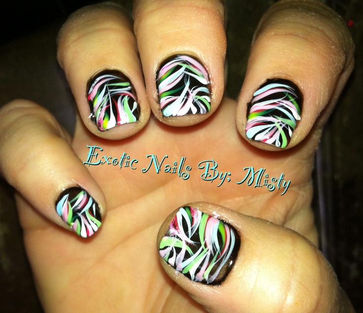 Hand Painted Nail Art Simple: 12 Best Black Base With Nail Art Images On Pinterest