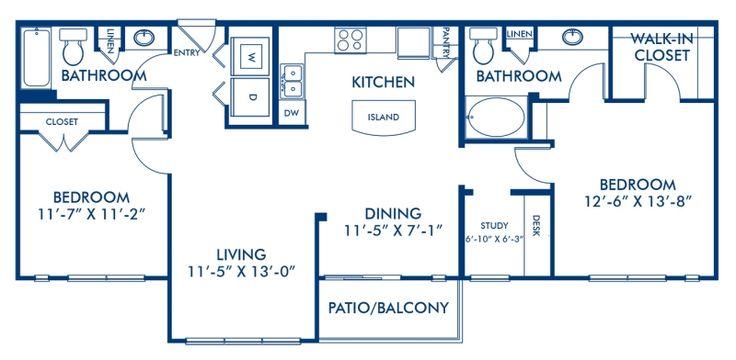 Blueprint of B2 Floor Plan, 2 Bedrooms and 2 Bathrooms at ...