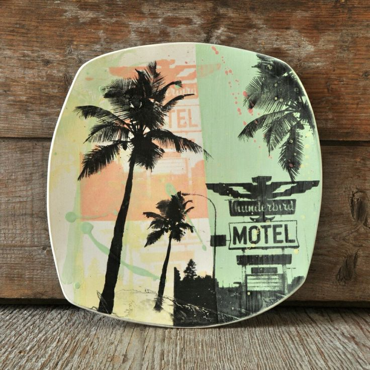 Ma collection de plateaux décoratifs MOTELS maintenant en ligne ! - My MOTEL decorative ceramic platter collection now available online!  #CindyLabrecque #céramique #motel #plateau #sérigraphie #platters #ceramics #vintage #print #Etsy