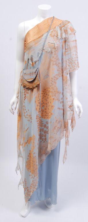 Zandra Rhodes Peach and Blue Silk Gown 1970's