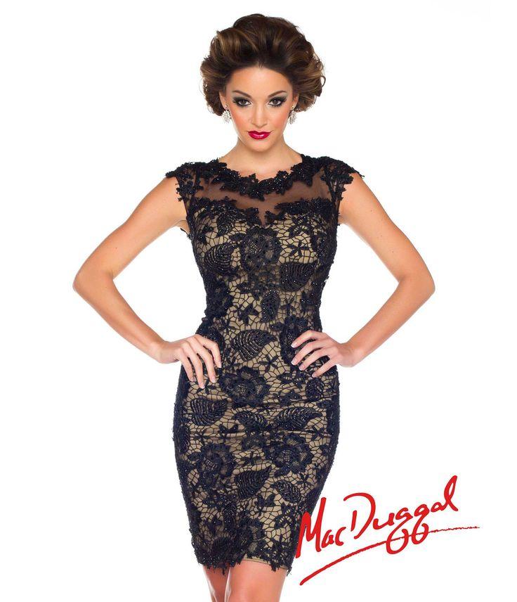 Mac Duggal 2014 Prom Dresses - Black & Nude Floral Lace Cocktail Dress - Unique Vintage - Prom dresses, retro dresses, retro swimsuits.