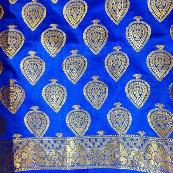 Indian Saree Fabric Blue Brocade Silk Banaras Silk