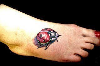 ladybug-3D-tattoo-ladybird-3-D-3-dimensional-foot-feminine-insect ...
