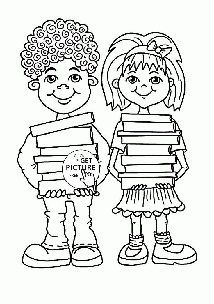 Children with School Books coloring