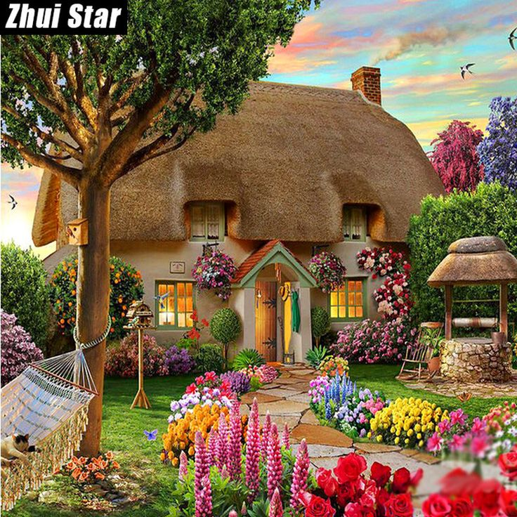 BUY now 4 XMAS n NY. Diamond painting Dream Cottage Diy Diamond Drawing crafts Needlework square drill diamond Mosaic pasted Diamond embroidery zx ** Find out more on  AliExpress.com. Just click the VISIT button.