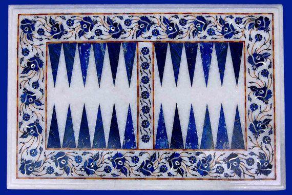 Backgammon tables lapis lazuli stone inlay pietra dura art exclusive collectible furniture