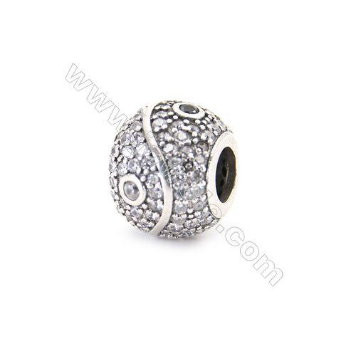 925 Sterling Silver Zircon European Beads x 1 Piece, Round, Diameter 10mm Hole 4mm