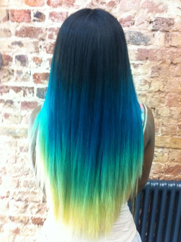 blue neon green ombre pastel hair elumen hair color