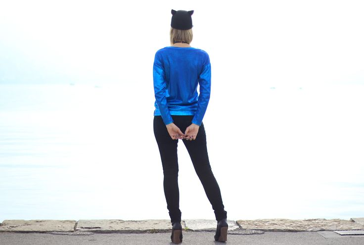 blogueuse mode/street look/fashion blogger/artlex/electric blue/glitter/hat/cat/Outift/outfitoftheday W/ @Kiabi France