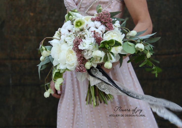 White and pink wedding bouquet !