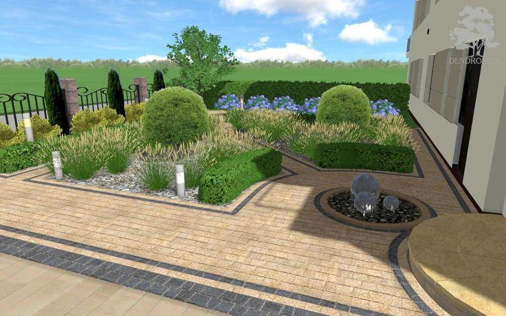 Rekompozycja istniejącego ogrodu w Cedzynie ( Kielce ). Tradycyjny ogród swobodny. Dużą część ogrodu zajął podjazd z kostki brukowej do garaży.