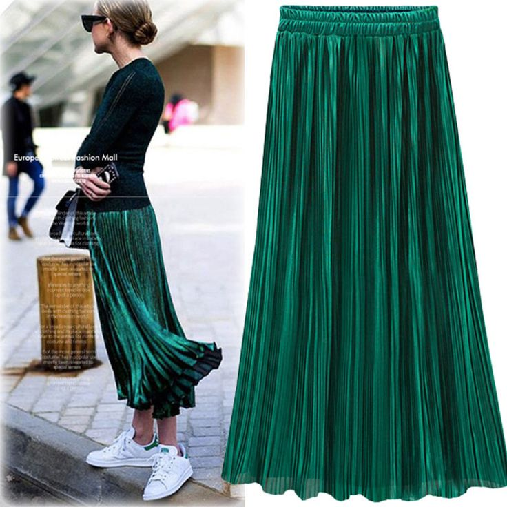 2017 Spring summer satin gray green long skirt summer Casual smooth women skirt high waist skirt Elastic pink pleated skirt * AliExpress Affiliate's buyable pin. Locate the offer on www.aliexpress.com simply by clicking the image