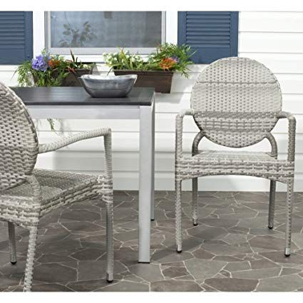 Safavieh Home Collection Valdez Grey Indoor Outdoor Stacking Arm   Gartenmobel  Weis Rattan
