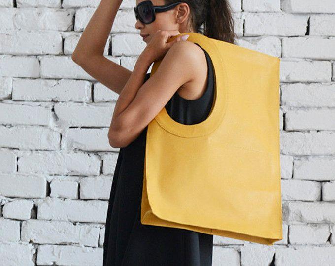 Gele schoudertas/Maxi tas/extravagante grote handtas/geel Tote tas/Square portemonnee/echte lederen tas/hoge kwaliteit Tote grote leerzak