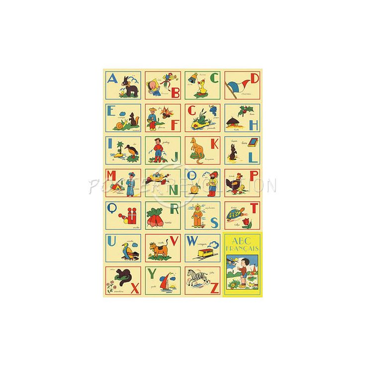 ABCs French Alphabet Decorative Decoupage Paper Poster Print