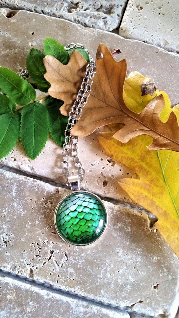 Green Mermaid/Dragon scales pendant necklace  green mermaid
