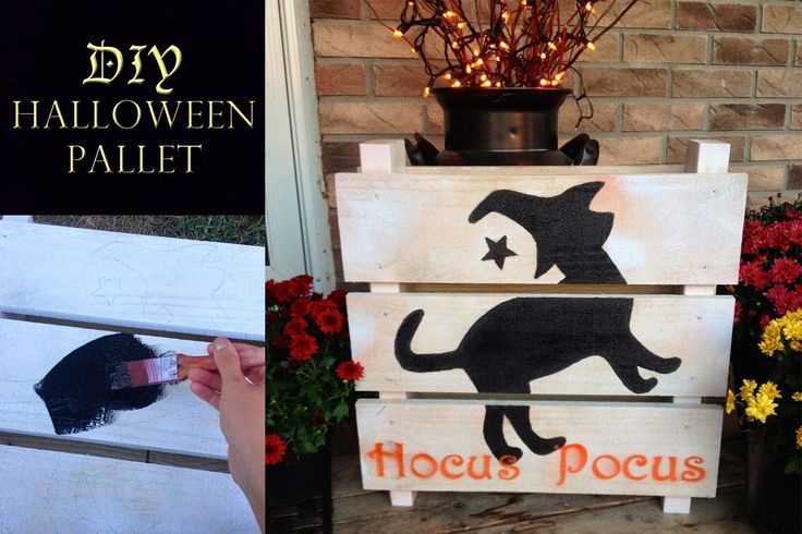 DIY Halloween mini pallet with paint and a print out stencil