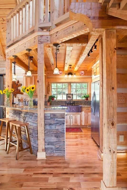 Beautiful log style kitchen but would make a bit roomier and extend the bar overhang