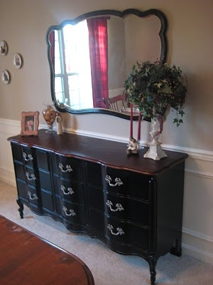Dresser And Mirror Turned Beautiful Sideboard In Dining Room