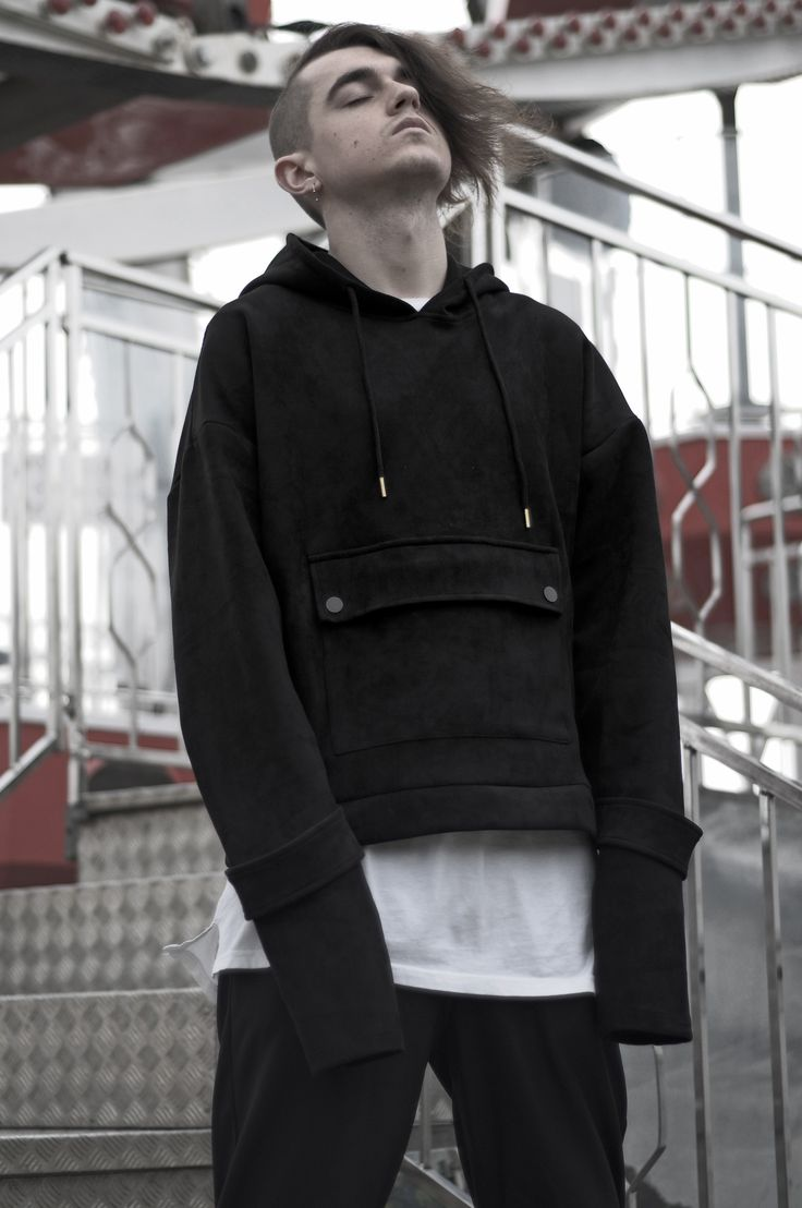 Over the law - wearing LUSIF Suede Hoodie