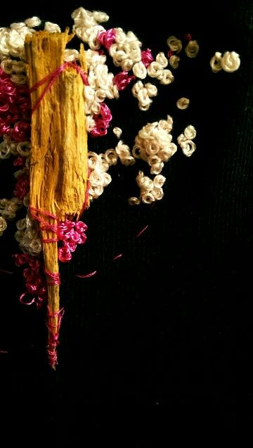 From my EyeEm account NicFrances. A bit of stitchery -old sock, wood chip from cherry blossom tree, silk and cotton threads