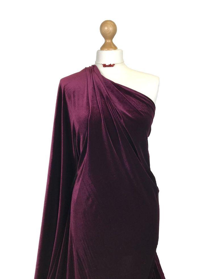 2.1 Metre Premium Luxury Black Velvet Velour Fabric 4 Way
