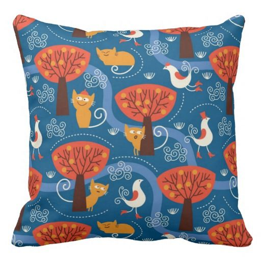 pattern with cute cats and birds throw pillows