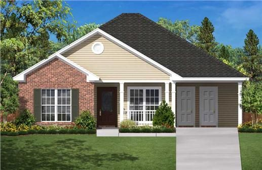 """The Plan Collection House Plan#: 142-1004 Floors: 1 Living Sq Feet: 1200 Full Baths: 2 Width: 40' 0"""" Depth: 39' 6""""  Carport would become a two car garage."""