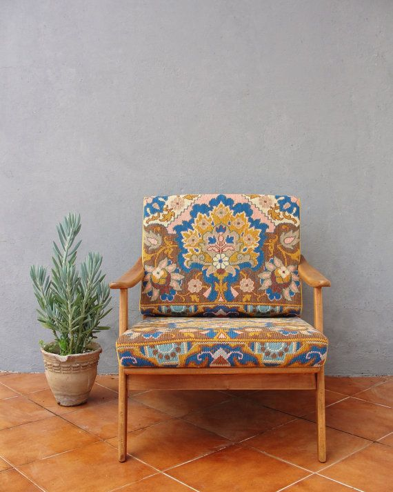 Embroidered Lounge Chair Mid Century Armchair by StarHomeStudio